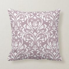 Large Rosebud Damask Pattern Mauve Throw Pillow | Zazzle.com (sponsored) Purple Throw Pillows, Decorative Cushions, Shades Of Purple, Free Sewing, Rose Buds, Custom Pillows, Home Decor Accessories, Home Decor Inspiration, Damask