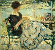 Richard Miller Femme cousant, vers 1910-1920, museum of art Tweed
