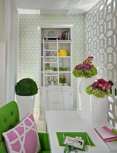 green, pink and  white - I love this color combination for my Mom Cave