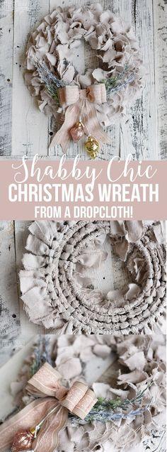 Shabby Chic Dropcloth Rag Christmas Wreath