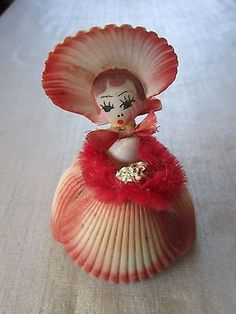 Vintage Sea Shell Doll Southern Belle Peach color lady doll from Shells NICE