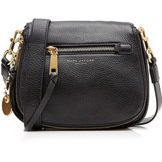 Marc Jacobs Recruit Small Leather Saddle Bag (£350) ❤ liked on Polyvore featuring bags, handbags, shoulder bags, black, leather shoulder bag, pocket purse, zip shoulder bag, zip purse and leather handbags