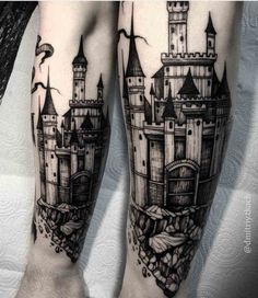 casle tattoo black and grey