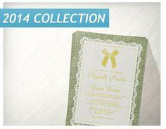 Yellow Green Country Burlap Wedding Invitations