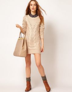 NYFW outfit: Cable Knit Sweater Dress