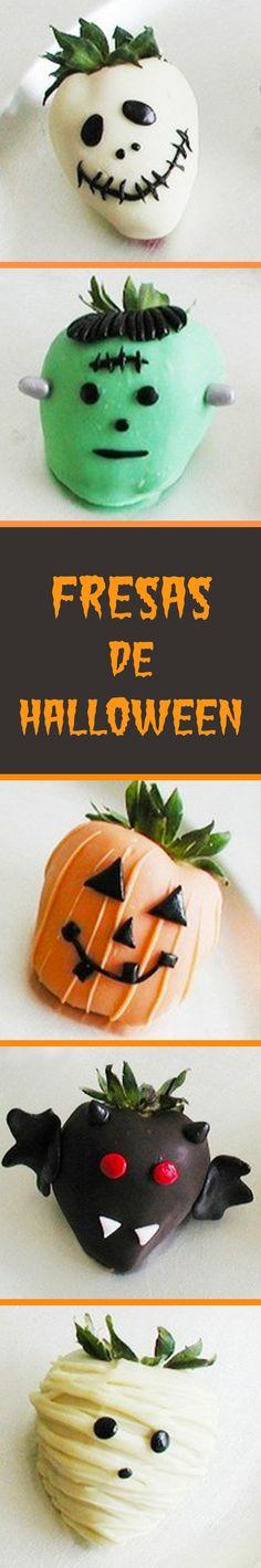Deliciosas y creativas fresas con chocolate blanco para halloween, esta receta les encantará a todos tus invitados, es ideal para las fiestas de Halloween.