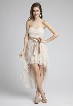 Strapless Hi-Lo Prom Dress with Cascading Ruffles from Camille La Vie and Group USA