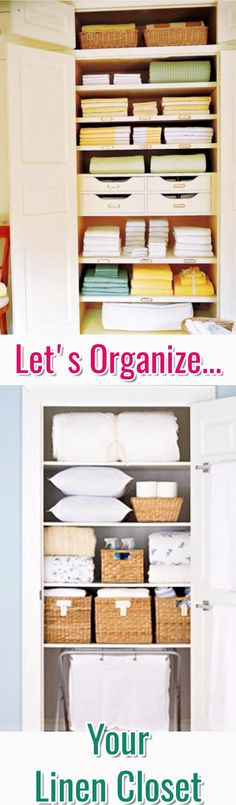 Storage and organizing ideas to organize hall closets and linen closets in your bathroom