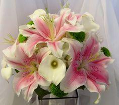 Stargazer and calla lilies