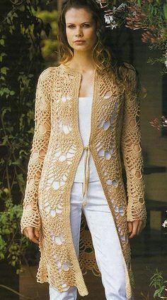 Paras as crocheteiras que são fã do ponto abacaxis no vestuário.. Um modelo de maxi casaco com ele .... GRAFICO CLIQUE AQUI ...