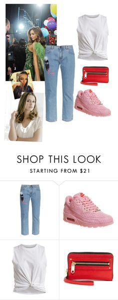 """""""Nike Air Shanghai pink"""" by imarealfashionista ❤ liked on Polyvore featuring Fendi, NIKE, VILA and Milly"""