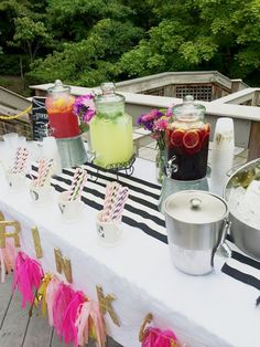 This drink bar is perfect for a summer engagement party.