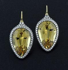 Beryl, Diamond, Silver and 18K Yellow Gold Ear Pendants by James de Givenchy #Taffin #JamesdeGivenchy #Earring
