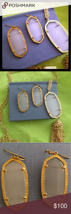 Kendra Scott Rayne Necklace & Elle Earrings Set Both are gently used and in gold with gray stone Kendra Scott Jewelry
