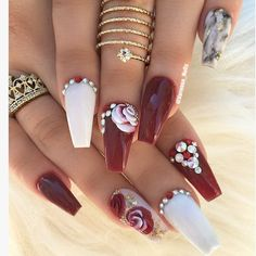 Pretty dark red coffin nails, nail art ideas with rhinestones Dark Red Nails, Red Acrylic Nails, Coffin Nails Matte, Burgundy Nails, Glam Nails, Beauty Nails, Cute Nails, Pretty Nails, Uv Gel Nails