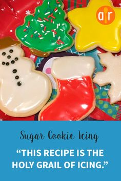Sugar Cookie Icing Recipe – The Best Christmas Cookies Best Sugar Cookies, Christmas Sugar Cookies, Christmas Sweets, Christmas Cooking, Sugar Cookies Recipe, Holiday Cookies, Christmas Recipes, Hard Icing For Cookies, Glaze For Sugar Cookies
