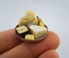 Cheese and Pear  1/12 Scale Dollhouse Miniature Food by shayaaron. Super-realistic miniatures.
