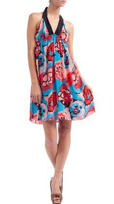 Printed Halter Neck Dress - Blue/Red.
