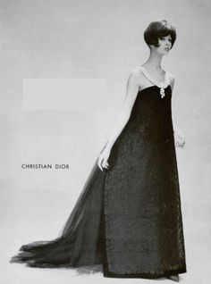 1959 simone in lace and tulle evening gown by (Yves Saint Laurent) Christian Dior,