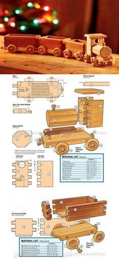 Wooden Train Plans - Children's Wooden Toy Plans and Projects | WoodArchivist.com #WoodworkingChildrenToys