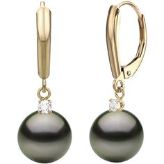 14K Yellow Gold 8-8.5mm Black Tahitian Cultured Pearl With Diamond Earrings Transform into a classic beauty when you wear these gorgeous black Tahitian cultured pearl with white diamond dangle earrings. Chic and classic 8-8.5mm black Tahitian cultured pearl earrings are finely crafted with gleaming 14K yellow gold and secured from lobe with lever backs. These pearl dangle earrings are also embellished with round white diamond in prong-set weighs 0.10 carat total weight and both of black…