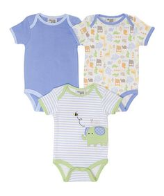 Look at this #zulilyfind! Blue & Green Jungle Out There Bodysuit Set by chick pea #zulilyfinds