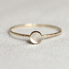 White Moonstone Stacking Ring Solid 14k Gold Natural