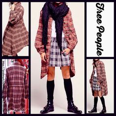 """FREE PEOPLE Plaid Swing Jacket RETAIL PRICE: $228   NEW WITH TAGS    FREE PEOPLE Plaid Swing Jacket   * A relaxed swing silhouette   * Incredibly soft & 'worn-like' fabric   * Peter Pan collar, long sleeves, & 2 front flap pockets   * About 39"""" long; Button front closure   * Allover plaid pattern   Fabric: 99% cotton & 1% Spandex  Color: Red Black Combo Item:   No Trades ✅ Fair Offers Considered*✅  *Please use the blue 'offer' button to submit an offer. Free People Jackets & Coats"""