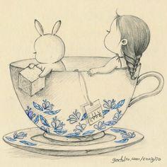 This looks so adorable! | illustration, coniglio