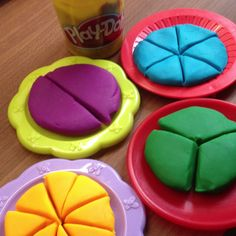 Teaching fractions with play-doh! This help students visualize fraction games that will help them understand fractions conceptually. Hands-on fractions.make your own play-doh. Teaching Fractions, Math Fractions, Teaching Math, Equivalent Fractions, Dividing Fractions, Math For Kids, Fun Math, Math Resources, Math Activities