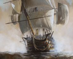 Battle Of Trafalgar Painting - Hms Temeraire by Oliver Hurst Sailboat Art, Nautical Art, Sailboats, Hms Temeraire, Old Sailing Ships, Ship Paintings, Man Of War, Wooden Ship, Navy Ships