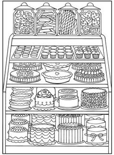 Dover Coloring Pages Colouring In Adult Sheets Books For Adults Bakery Shop Design Publications