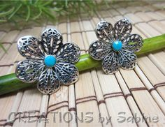 Flower Earrings Silver Tone Turquoise Posts Studs / Filigree simple feminine cute blossom unique floral / Vintage / FREE SHIPPING by CREATIONSbySabine