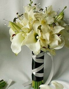 Floral Package,Calla Lily, Casablanca Lily Bridal Bouquet, Lily Wedding Flower Package, Lilies and Crystal Bouquet