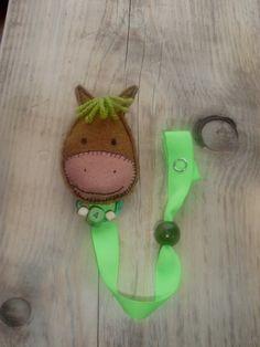Felt Horse pacifier clip Baby by bizmarite on Etsy, $10.00