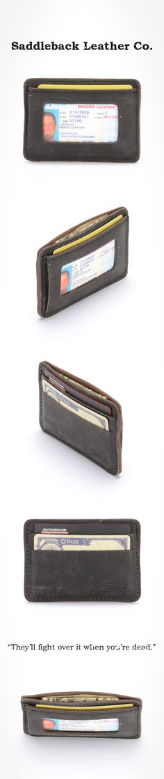 The Saddleback Leather ID Wallet in Carbon | 100 Year Warranty | $33.00