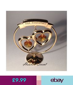 Other Celebrations & Occasions 50Th Golden Wedding Anniversary Gift Ideas Gold Plated+ Swarovski Crystals Sp250 #ebay #Home & Garden