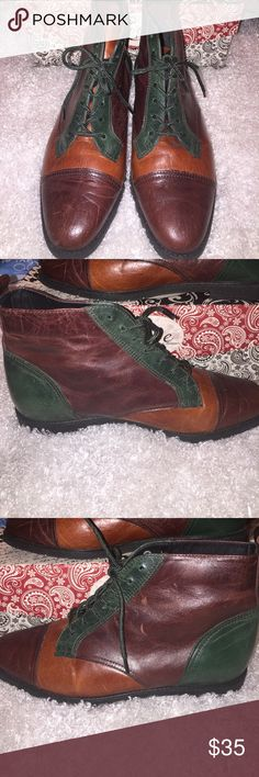 Vintage Hush Puppies Leather Ankle Boots Leather uppers Hush Puppies Ankle Boots- patchwork leather in deep green, wine and rust. 1990's. Left boot missing original insole.  Size 8W. Rubber soles. Hush Puppies Shoes Ankle Boots & Booties