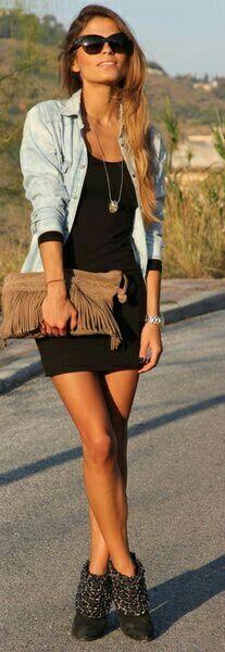 Black body con dress with denim jacket.