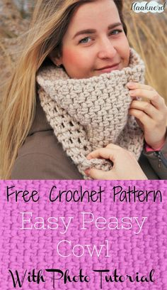 Free crochet pattern with photo tutorial of a granite stitch or moss stitch cowl | Haaknerd