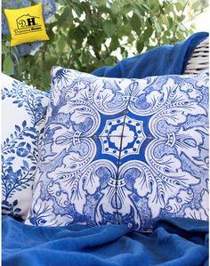 Cuscino Arredo quadrato Maioliche Collection Colore Bianco / Blu Blanc Mariclo