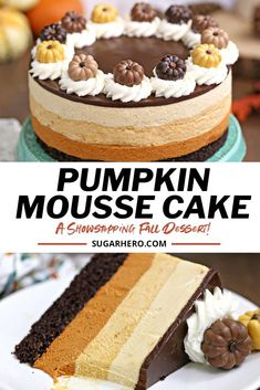 Fall Dessert Recipes, Fall Desserts, Delicious Desserts, Layered Desserts, Brownies, Pumpkin Mousse, Chocolate Mousse Cake, Pumpkin Chocolate Cheesecake, Mousse Dessert