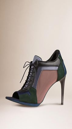 Burberry Dark Racing Green Leather and Mesh Panel Ankle Boots - Colour block leather, suede, satin and technical mesh lace-up boots with a peep toe. Technical mesh panels for breathability, padded satin and leather insole for comfort. Discover the shoes collection at Burberry.com