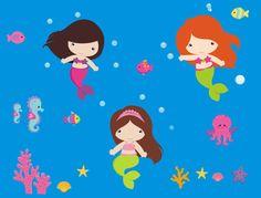 Mermaid Nursery Decals Girls Room Mermaid by NurseryDecals4You.  https://www.etsy.com/listing/267062495/mermaid-nursery-decals-girls-room?ref=shop_home_active_13