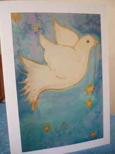 Items similar to Peace Dove Card by The Silk Maid Print of Handpainted Silk Design on Etsy Peace Dove, Textile Art, Card Making, Mermaid, Textiles, Hand Painted, Silk, Unique Jewelry, Creative