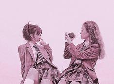 Seulgi, Besties, Bff, Pink Filter, Ulzzang Couple, Doraemon, Lgbt, This Is Us, Best Friends