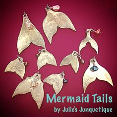 Mermaid tails from silverware & freshwater pearl charms made for Julie's Junquetique on etsy.com