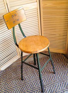 Vintage Industrial Stool, Industrial Work Stool, Furniture, Vintage Wood and Steel Shop Stool, Industrial Home Decor, Seating by LindaGeez