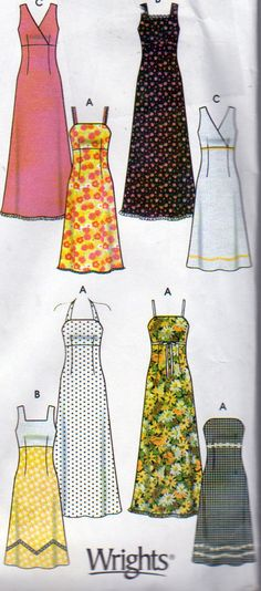 Design Your Own Sundress, Simplicity 5549, Misses Sizes 4,6,8,10, Uncut, 8 Great Sundress Looks One Pattern, Bodice Variations by OnceUponAnHeirloom on Etsy