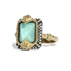 Emily Armenta Emerald Cut Turquoise And Quartz Ring With Diamonds ❤ liked on Polyvore